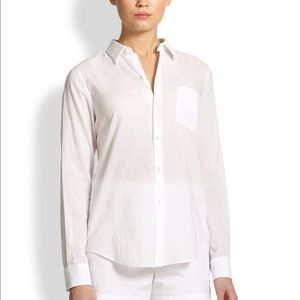Sheer white buttoned down top by THEORY P